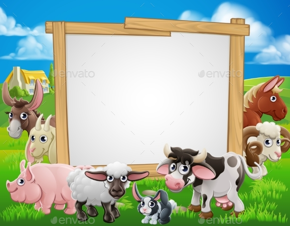 Farm Animals Cartoon Sign - Animals Characters