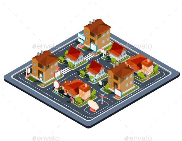 Vector Isometric Illustration Residential Quarter - Communications Technology