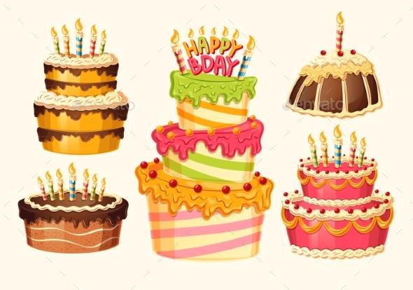 Collection of Vector Cartoon Birthday Cakes - Birthdays Seasons/Holidays
