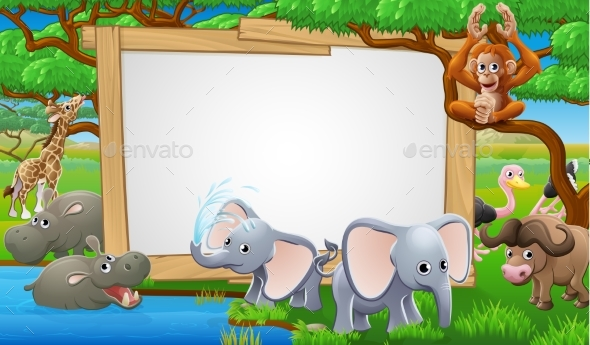 Safari Animals Cartoon Sign - Animals Characters