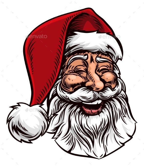 Santa Claus Vintage Woodcut Style - Seasons/Holidays Conceptual