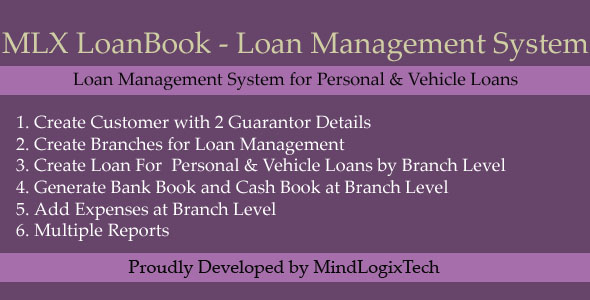 MLX LoanBook - Loan Managment System - CodeCanyon Item for Sale