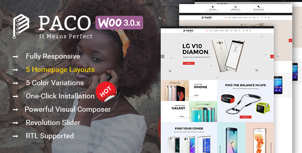 Paco - Responsive  Woocommerce WordPress Digital Theme
