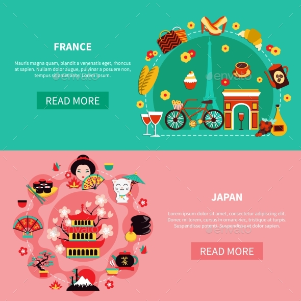 France And Japan Landmarks Horizontal Banners - Backgrounds Decorative