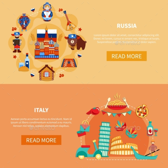 Russia Italy Touristic Banners - Food Objects