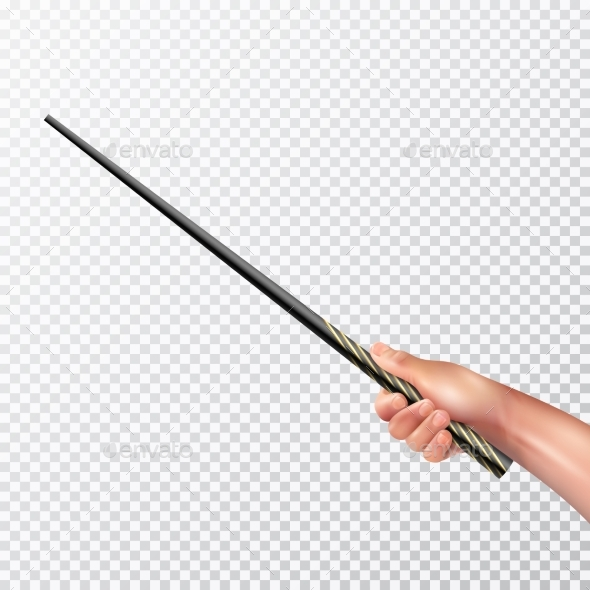 Realistic Hand With Magic Wand - Objects Vectors