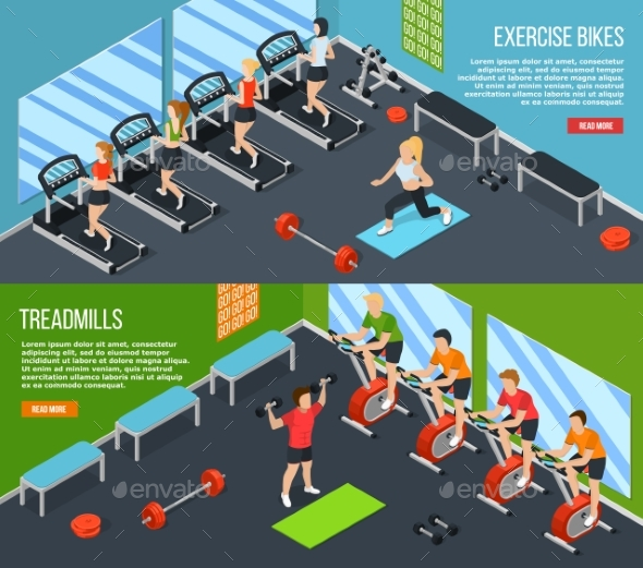 Gym Isometric Banner Set - Sports/Activity Conceptual