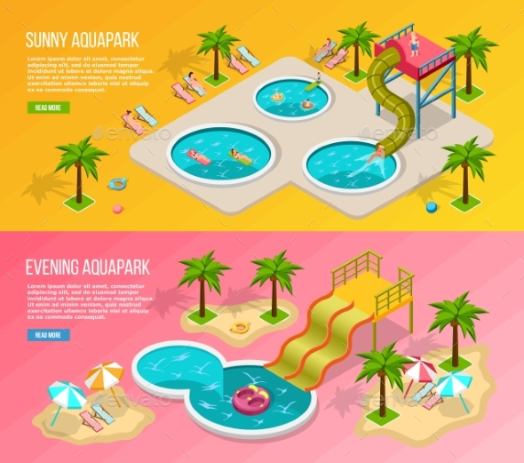 Isometric Aqua Park Banner Set - Sports/Activity Conceptual