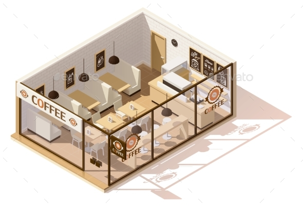 Vector Isometric Low Poly Coffee Shop - Buildings Objects