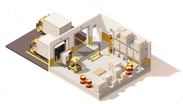 Vector Isometric Low Poly Warehouse - Buildings Objects