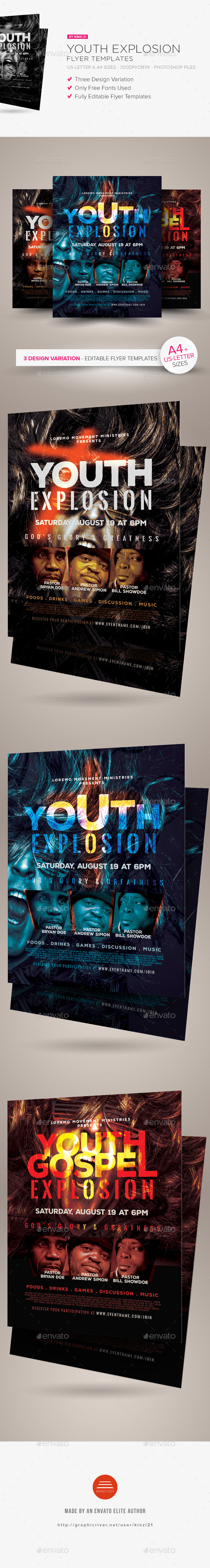 Youth Explosion Flyer Templates - Church Flyers