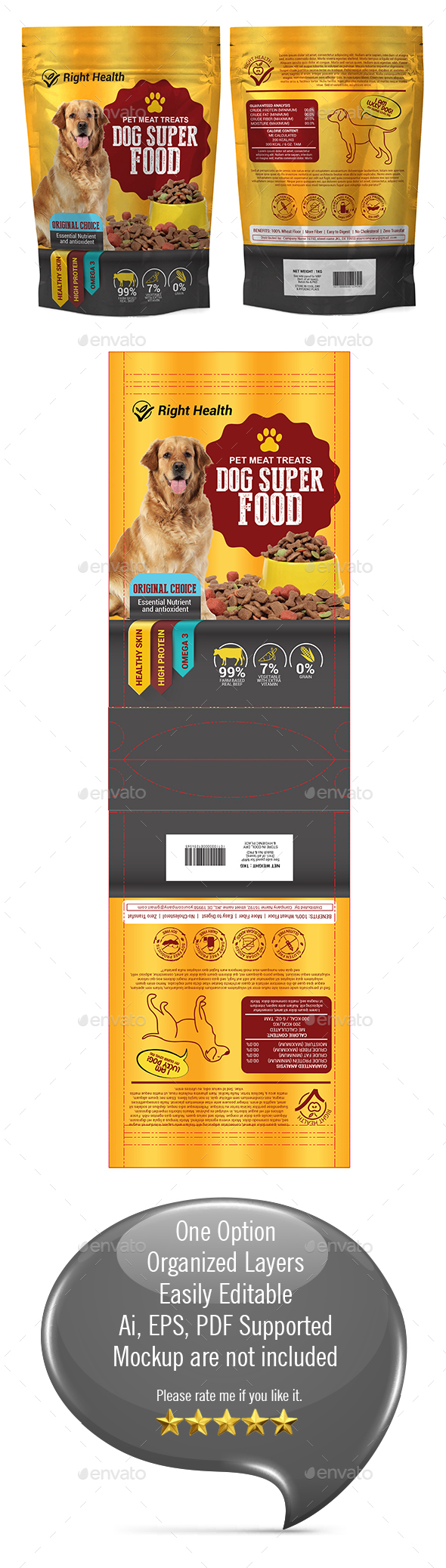 Dog Supplement Packaging Template-03 - Packaging Print Templates