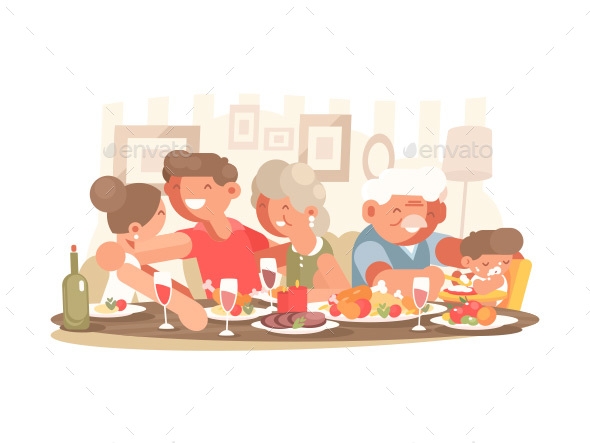 Happy Family at Dinner Table - People Characters