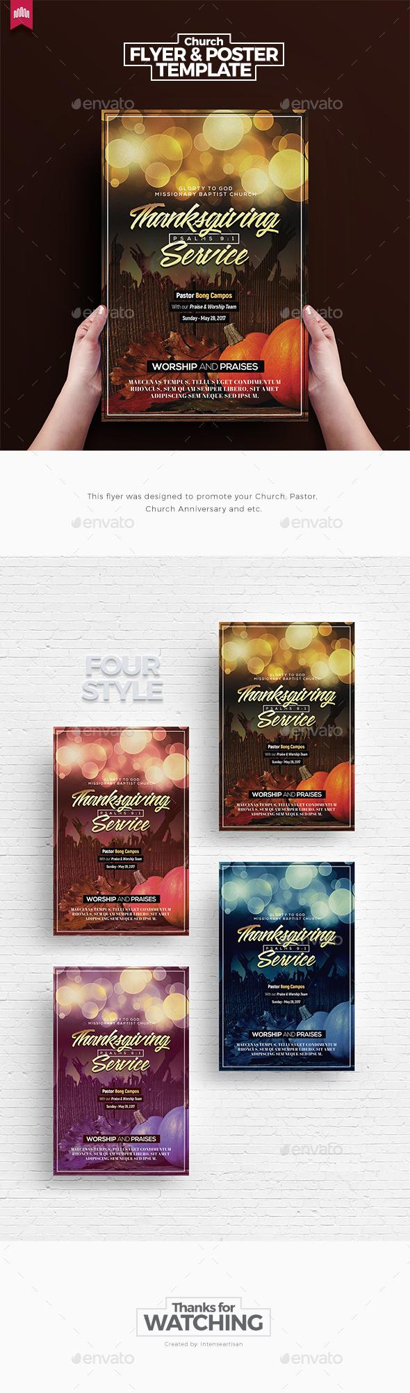Thanksgiving Service - Church Flyer Template