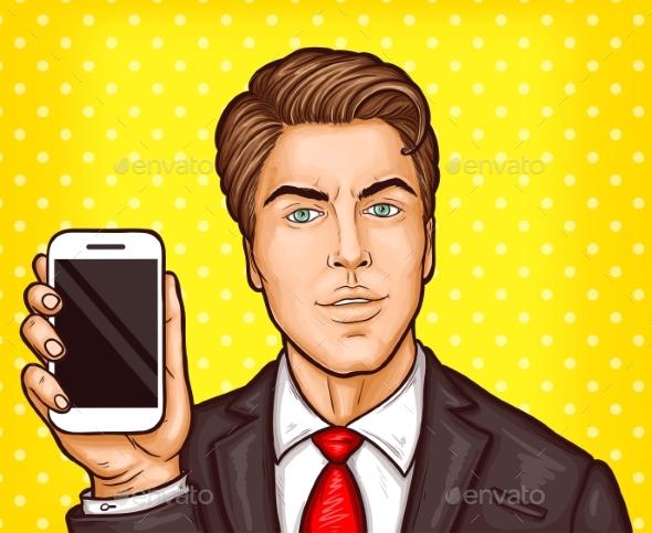 Vector Pop Art Businessman - People Characters