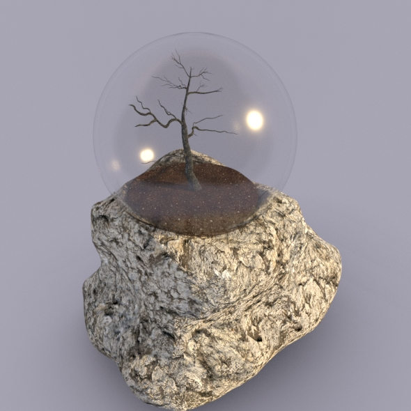 Realistic tree in snow globe - 3DOcean Item for Sale