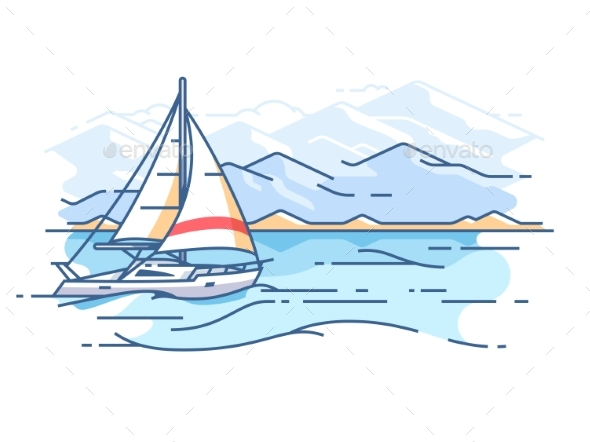 Sailing Yacht in Sea - Objects Vectors