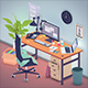 Office workstation in toon 3d style