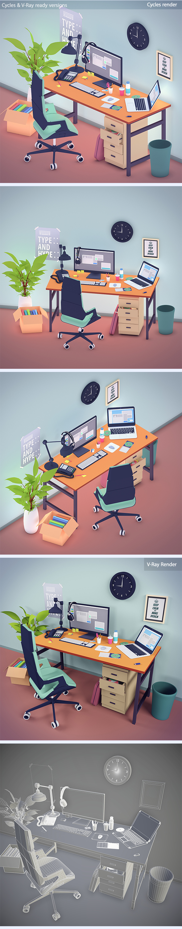 Office workstation in toon 3d style - 3DOcean Item for Sale