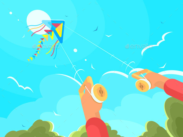 Man Playing with Kite - Miscellaneous Vectors