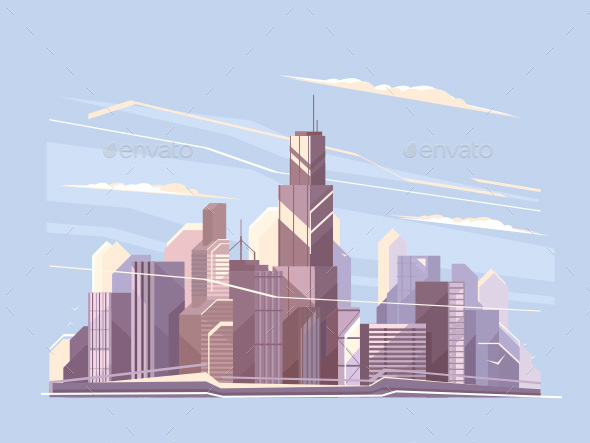 City Landscape with Skyscrapers - Miscellaneous Vectors