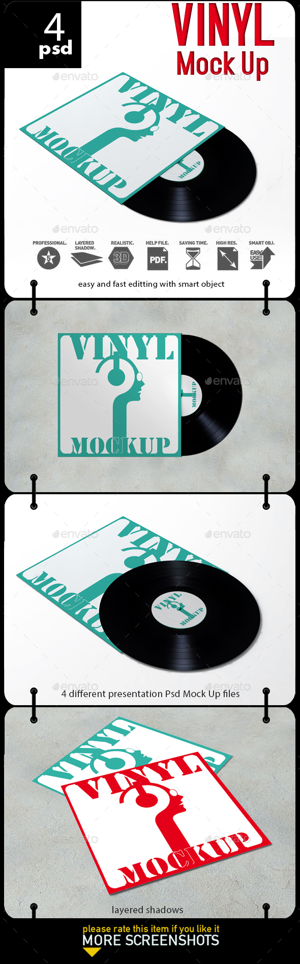 Vinyl Record Mock-Up - Product Mock-Ups Graphics