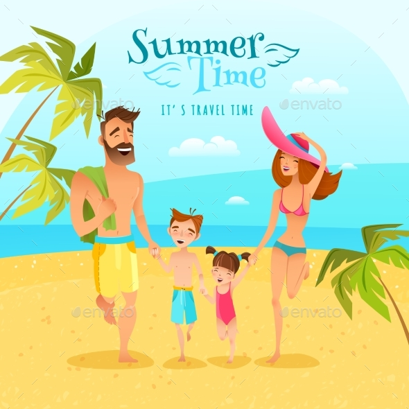 Family Season Summer Illustration - People Characters