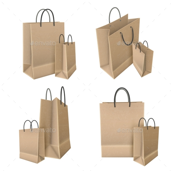Shopping Bags From Craft Paper Set - Business Conceptual
