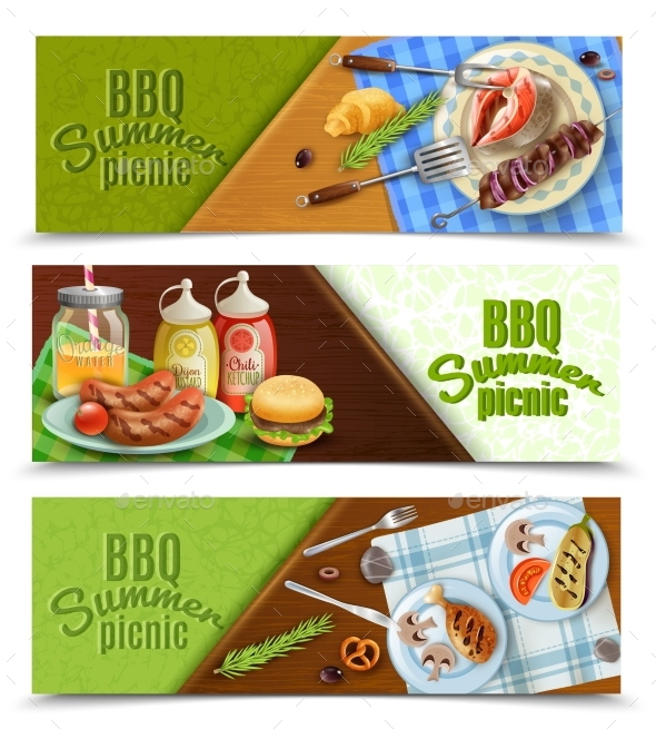 BBQ Summer Picnic Banners Set - Food Objects