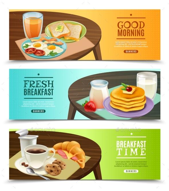 Breakfast Horizontal Banners Set - Food Objects