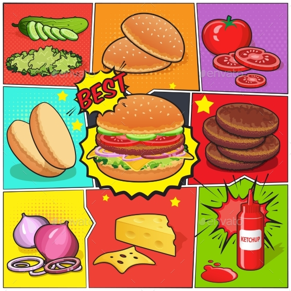 Burger Comic Book Page - Business Conceptual