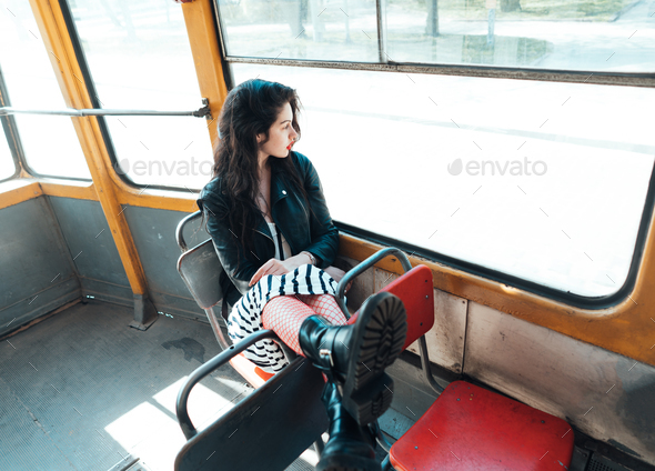 Woman traveling inside the tram - Stock Photo - Images