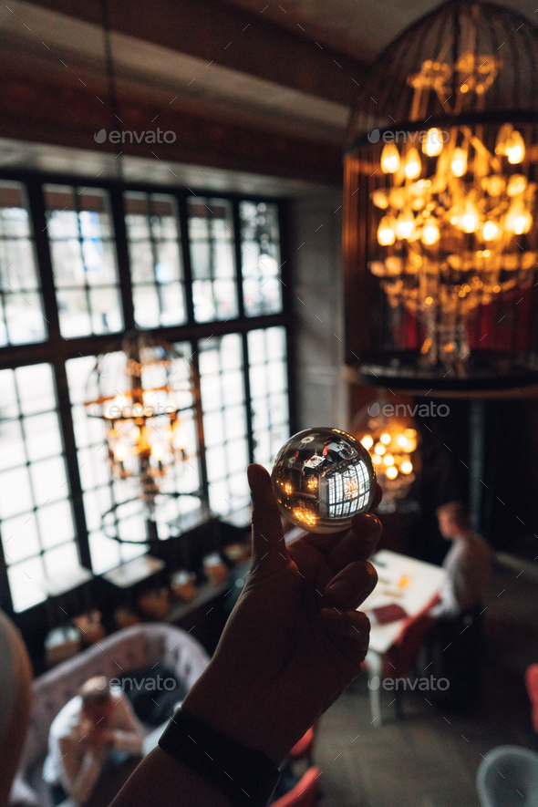 luxurious interior through a glass ball - Stock Photo - Images