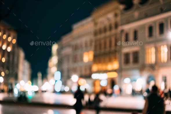 abstract blurred background of night cityscape - Stock Photo - Images