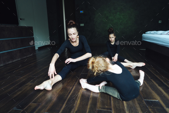 Mom and two daughters spend time together - Stock Photo - Images