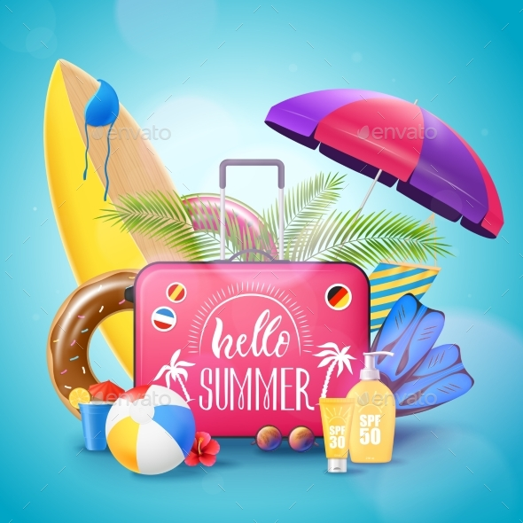 Summer Beach Vacation Background Poster - Objects Vectors