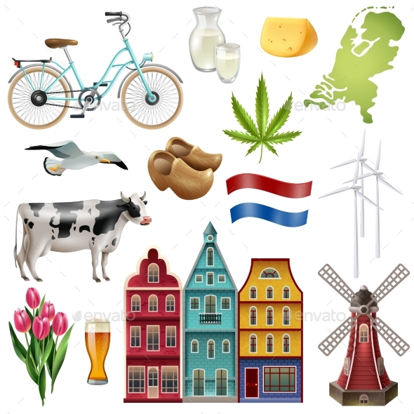 Holland Netherlands Travel Icon Set - Buildings Objects