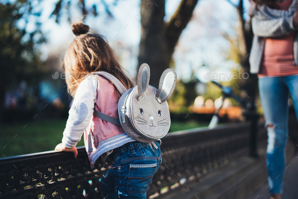 Mom and daughter in the park - Stock Photo - Images