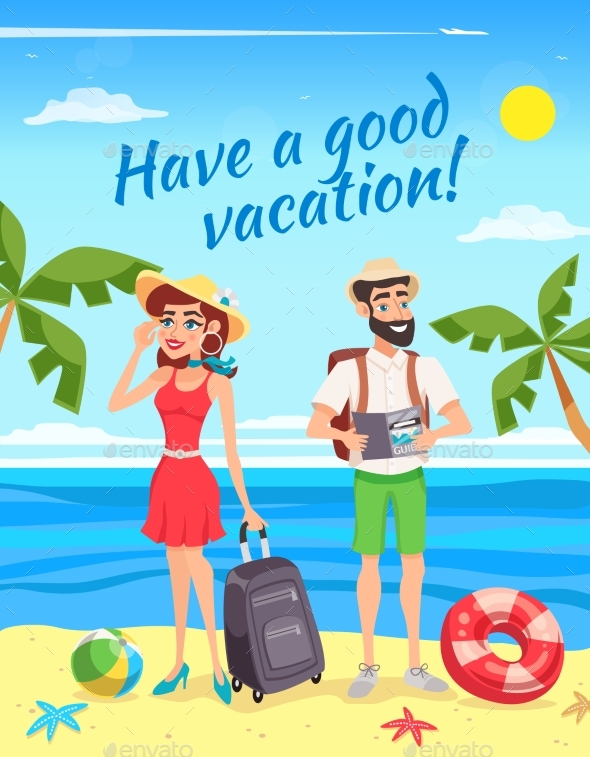 Tourists During Summer Holiday Illustration - People Characters