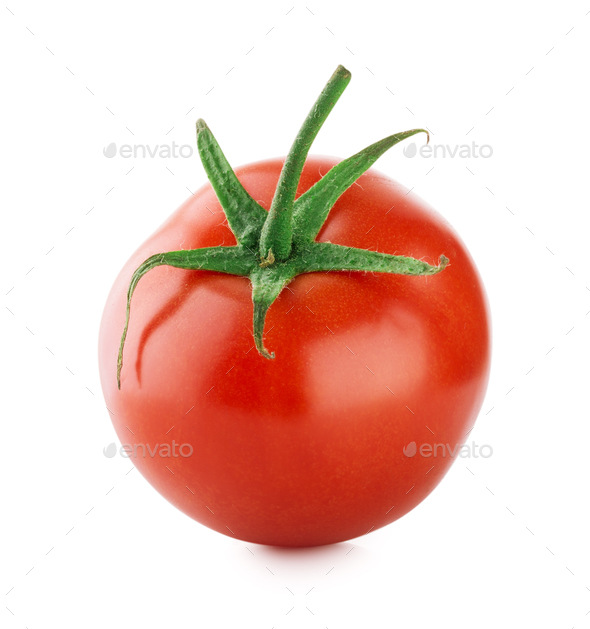 Ripe tomato with green handle - Stock Photo - Images