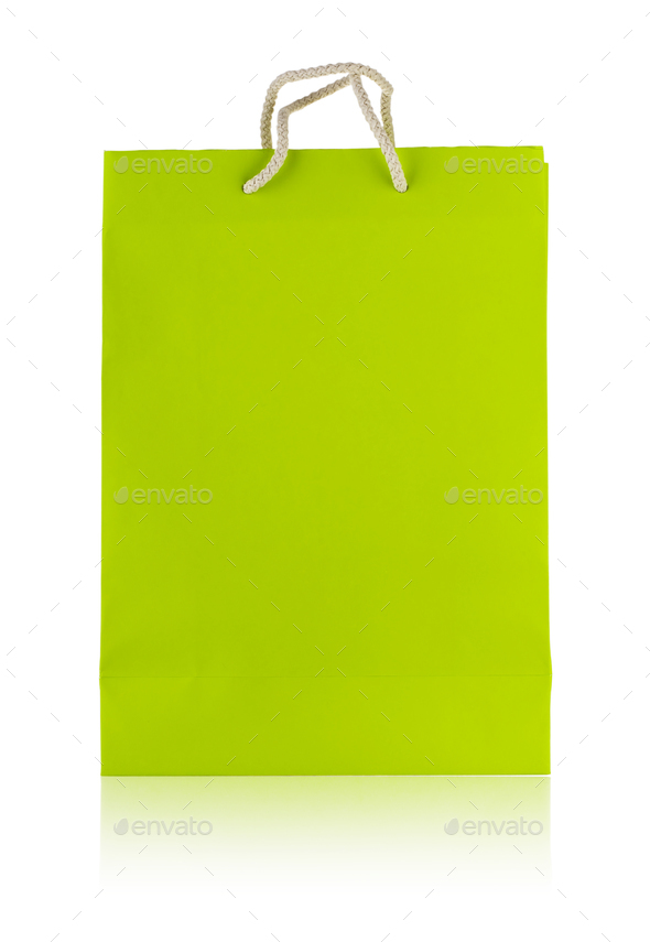 Paper bag with a rope handles - Stock Photo - Images