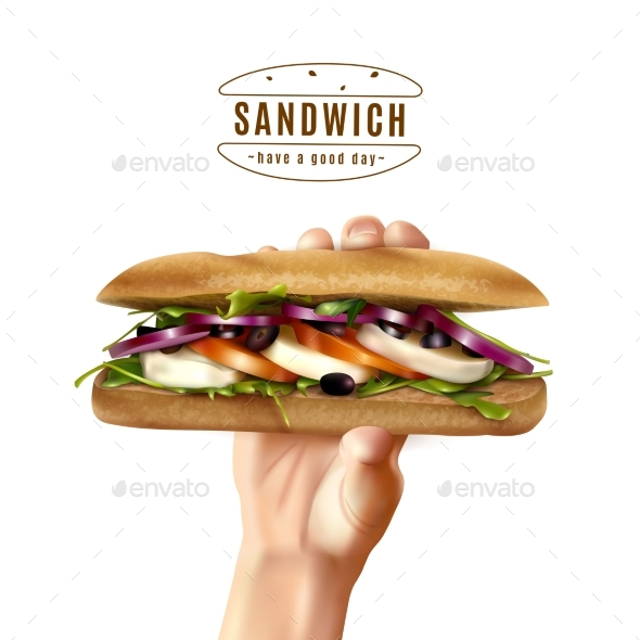 Healthy Sandwich In Hand Realistic Image - Food Objects