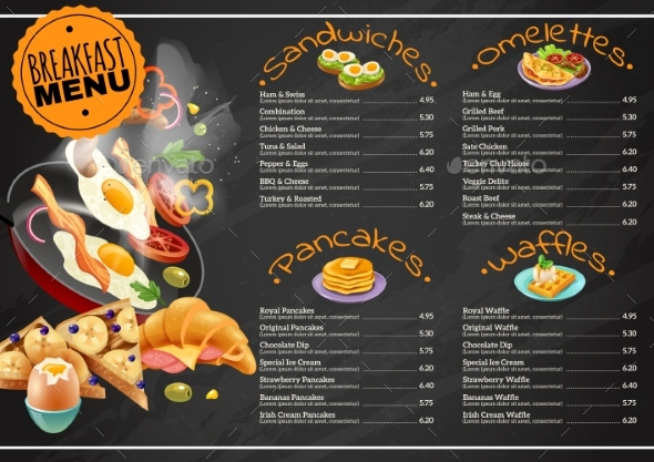 Breakfast Menu On Chalkboard - Food Objects