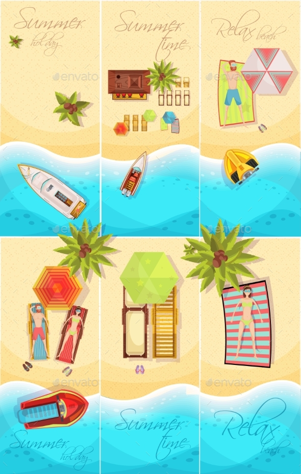 Summer Holiday Posters Set - Landscapes Nature