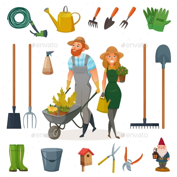 Gardening Cartoon Icon Set - Landscapes Nature