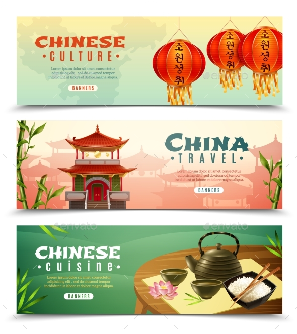 China Travel Horizontal Banner Set - Buildings Objects