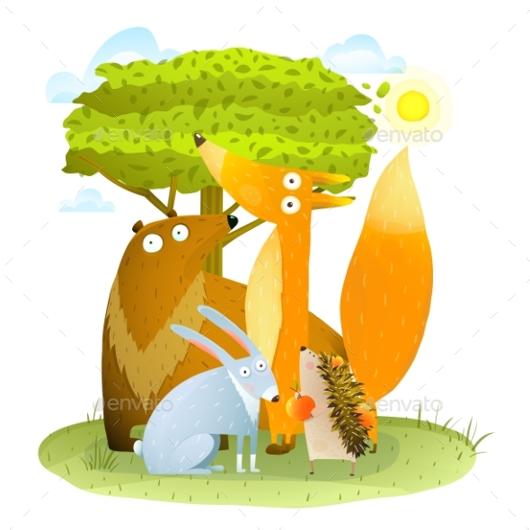 Animals in Wild Bear Fox Hedgehog Rabbit in Forest - Animals Characters