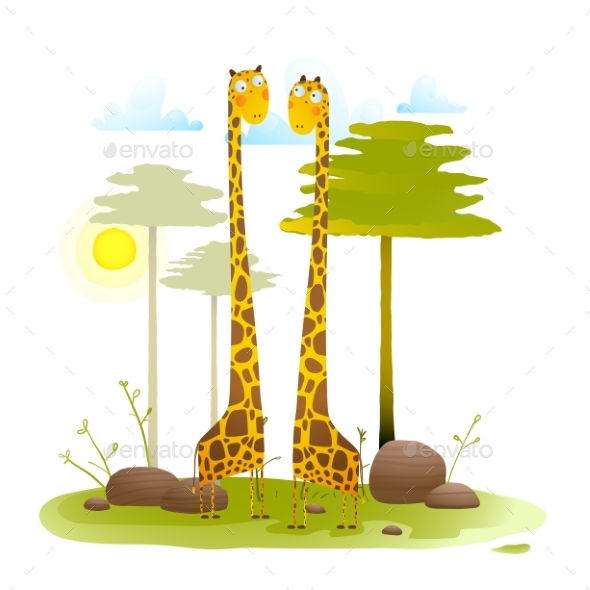 African Friendly Giraffes Zoo with Trees Nature - Animals Characters