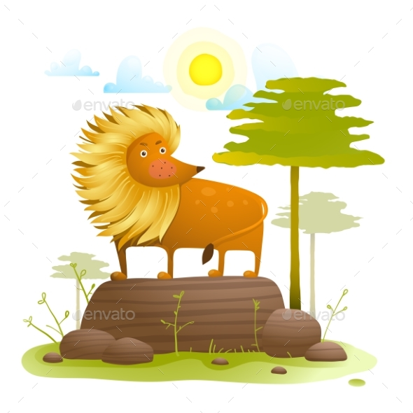 Lion Animal Cartoon in Wild Nature with Trees Lawn - Animals Characters