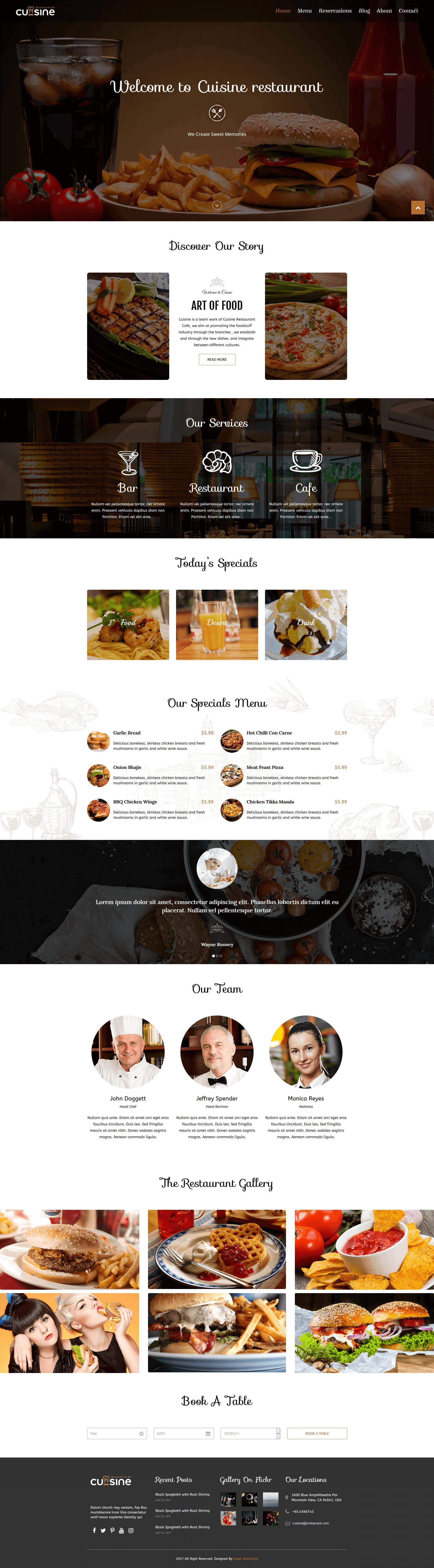 Cuisine - Responsive Restaurant HTML Template by sagarMR   ThemeForest